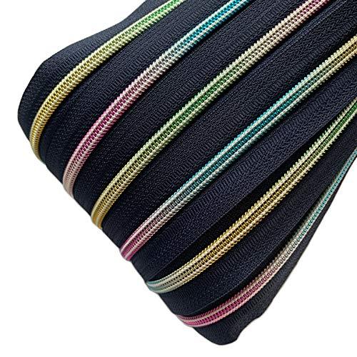 Schnoschi 2 m dunkelblauer 5mm endlos Reißverschluss mit Regenbogeneffekt 5 mm Laufschiene + 5 Zipper, Spiralreißverschluss