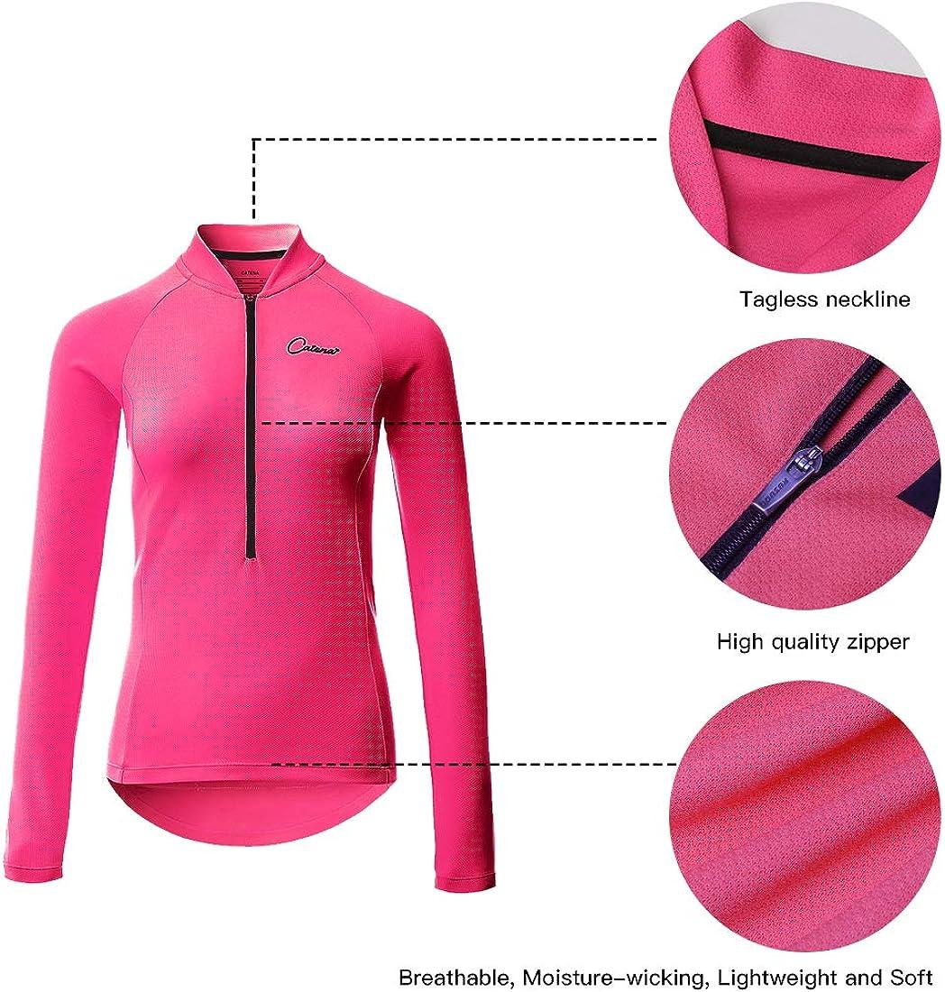 Catena Womens Cycling Jersey Long Sleeve Shirt Running Top Moisture Wicking Workout Sports T-Shirt