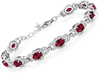 Gem Stone King 925 Sterling Silver Red Created Ruby Women's Tennis Bracelet (11.08 Cttw Oval 7 Inch With 1 Inch Extender)