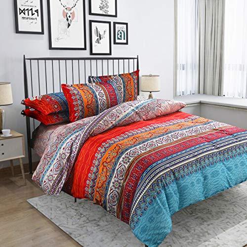 Satbuy Bohemia Retro Printing Bedding Ethnic Vintage Floral Duvet Cover Boho Bedding 100% Brushed Cotton Bedding Sets 3pcs(Full Size)
