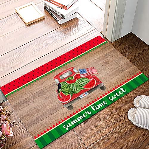 Sommer-Fußmatte für Haustür, süßes rotes LKW-Ladung, Wassermelone mit Amerika-Flagge, Küchenteppich, rutschfeste Fußmatte, Bodenmatte für Badezimmer/Schlafzimmer/Wohnzimmer, 40,6 x 61 cm