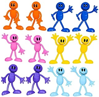 Kicko Bendable Smiley Figures - Happy Faces - 12 Pack Assorted Colors - Bendable Toys and Games, Action and Toy Figures, P...