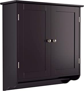 Best HOMFA Bathroom Wall Cabinet, Over The Toilet Space Saver Storage Cabinet Kitchen Medicine Cabinet Doule Door Cupboard with Adjustable Shelf and Towel Bar, Dark Brown Review