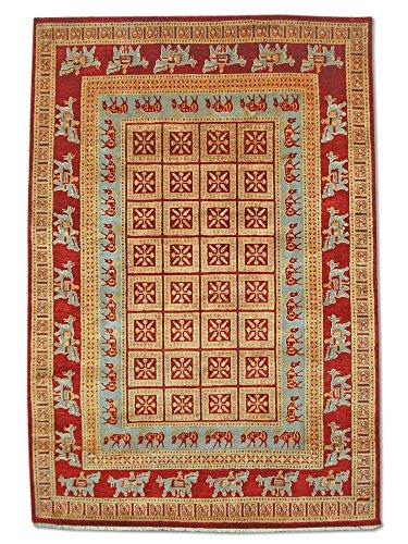 Pak Persian Rugs Handgeknüpfter Pazyryk Teppich, Burgunderrot/Rot, Wolle, Medium, 167 X 251 cm