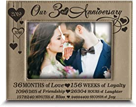 BELLA BUSTA- Our 3 Years Anniversary-2018-2019 - Years,Months, Weeks, Days, Hours, Minutes, Seconds- Engraved Leather Picture Frame (5 x 7 Horizontal)