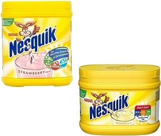 Nesquik Banana and Strawberry Milkshake Bundle | Enjoy This Delicious Combo | Banana Flavour 1 x 300g and Strawberry Milkshake 1 x 500 g | Total of 2 tubs
