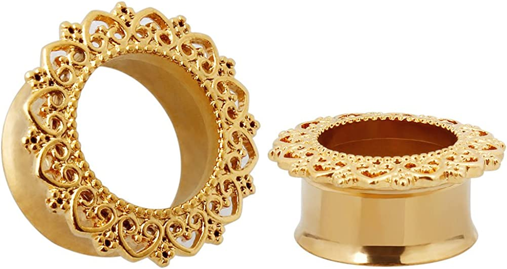 KUBOOZ Punk Style Ear Piercing Tunnels Plugs Gold Plated Stainless Steel Flare Screw Back Plugs Gauges