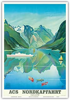 ACS Nordkapfahrt (North Cape Voyage) - Hapag-Lloyd Cruises - Norway Fjord Cruise - Vintage Ocean Liner Travel Poster by Fuff c.1957 - Master Art Print - 13in x 19in