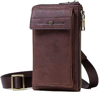 Oivias Waist Pack-Outdoor Waist Pockets, Unisex Shoulder Bag, Multi-Function Crossbody Bag, Leather Wallet, Mobile Phone Bag(Size:11.5 * 4.5 * 19.5cm) (Color : Brown)