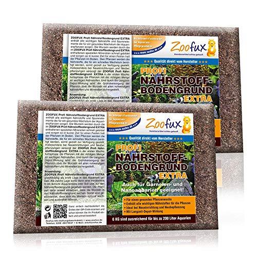 ZOOFUX Aquarium Nährstoffbodengrund (GRATIS Lieferung in DE - Alle wichtigen Nährstoffe, Spurenelemente für Aquarium-Pflanzen - Bodengrund + Nährstoffboden), Inhalt:12 kg