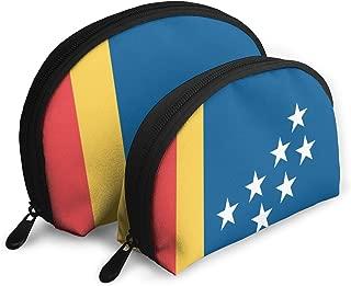 KIZZFlag Of Durham Shell Shape Zipper Cosmetic Bags,Travel Bag,Makeup Holder Case (2-Pack)