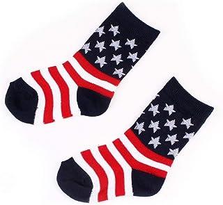 COZOCO, Bebé Infantil Niño Bandera Americana Algodón Americano Largo Tapa Dura Calcetines
