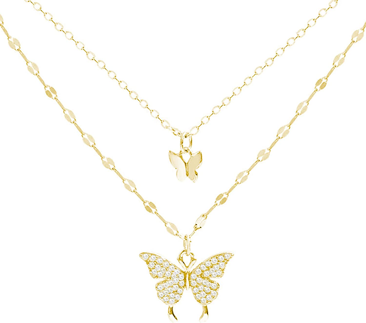 Layered Butterfly Pendant Necklace Dainty Adjustable Multilayer Butterfly Choker Necklaces for Women Girls