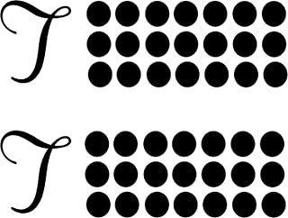 Black Letter T Farmhouse Monogram Decor Vinyl Decals - 2 Sets of Family Name Abbreviations and Polka Dots   Use for Tin Metal, Glass, Window, or Wall   Wedding or Party Decorations