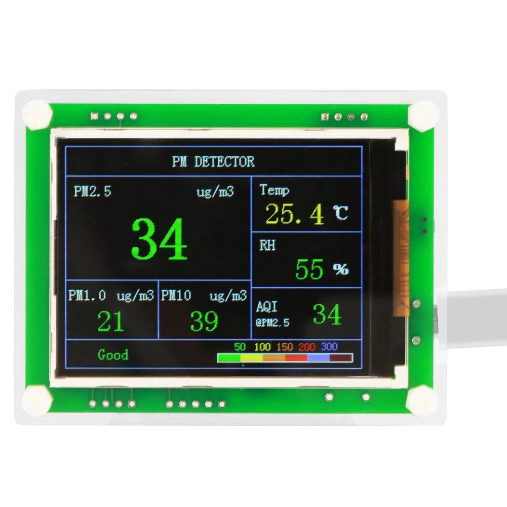 Detector de calidad del aire, PM2.5 Medidor del monitor de calidad del aire Pruebas multifuncionales PM1.0, PM10.0, PM2.5, AQI, temperatura, humedad, materia particulada para el hogar.