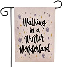 Bisead Outdoor Xmas Decorations,Double Sided 12.5X18 Inch Holiday Garden Flags the Quote Walking in Winter Wonderland Trendy Calligraphic Style Burlap Decorations,Joy Garden Flag,Christmas Garden Flag