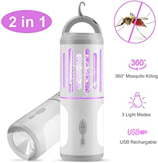 AODOOR Lámpara Antimosquitos, Mosquito Killer, Portátil 2 en 1 Asesino de Mosquitos, Mata Mosquitos Electrico con Lámpara De Camping y Linterna, Impermeable UV Mosquitera Eléctrica