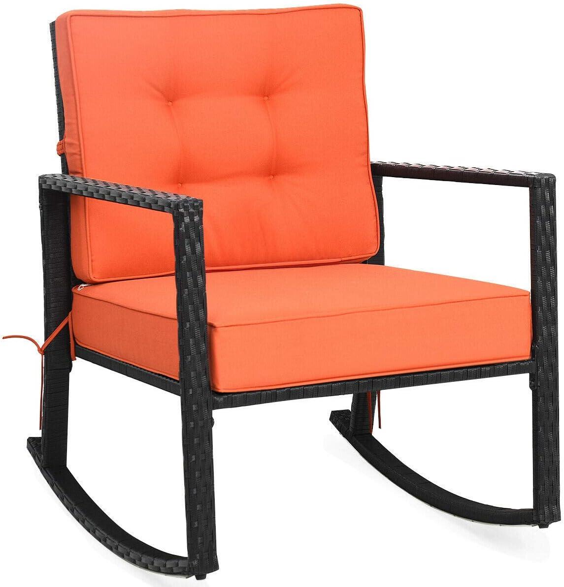 Orange Soft Cushion Patio Same day shipping Rattan Max 73% OFF A Chair Armchair Rocking Rocker