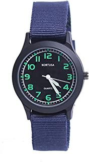Kids Luminous Military Nylon Wrist Watch Waterproof Analog Quartz Watch with Adjustable Nylon Strap