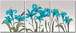VividHome 3 Piece Blue Lily Canvas Painting Wall Art Flower Pictures Elegant Floral Wall Decorations for Living Room Ready to Hang 12x16inchx3pcs