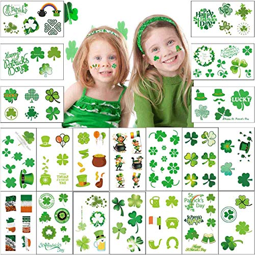 Manbaku St. Patrick's Day Temporary Tattoos 20 Unique Sheets Shamrock Flag Irish Sticker Clover Tattoos Accessories Decorations Party Favors (156 Designs)