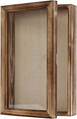 Shadow Box Picture Frame Wood Display Case with Linen Back for Memorabilia etc