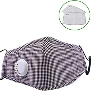 Fashion Outdoor Masks 5 Pcs Face Covers With 10 Air Filter Cotton Sheet Washable Reusable Face Protector With Adjustable Straps (Color : Coffee grid)