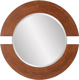 Howard Elliott Hanging Beveled Round Orbit Wall Mirror, Wood, 38 Inch