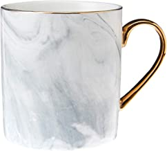 Truffula Forest TFMARB023-LUXE GREY MARBLE MUG WITH GOLD HANDLE