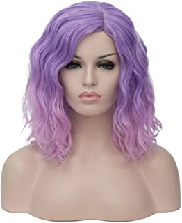 """BERON 14"""" Women Girls Short Curly Bob Wavy Ombre Pink Wig Body Wave Daily Hair Wigs (Light Purple to Pink)"""