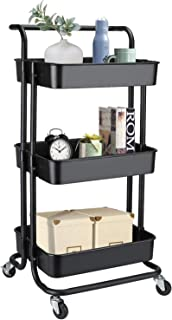alvorog 3-Tier Rolling Utility Cart Storage Shelves Multifunction Storage Trolley Service Cart with Mesh Basket Handles and Wheels Easy Assembly for Bathroom, Kitchen, Office (Black)