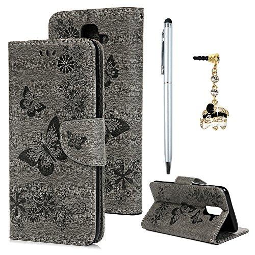 A6 Plus 2018 Schutzhülle Hülle Leder Wallet Hülle für Samsung Galaxy A6 Plus 2018 Tasche Handyhülle Großer Schmetterling PU Leder Flipcas Kartenfach Stand Magnetische Etui Grau