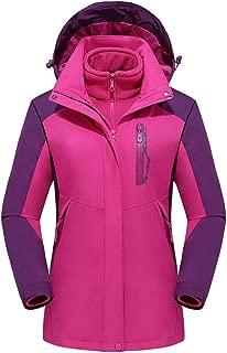Holzkary Women's Jackets Mountain Waterproof Ski Jacket Detachable Hooded Windproof Sport Outdoor Rain Coat