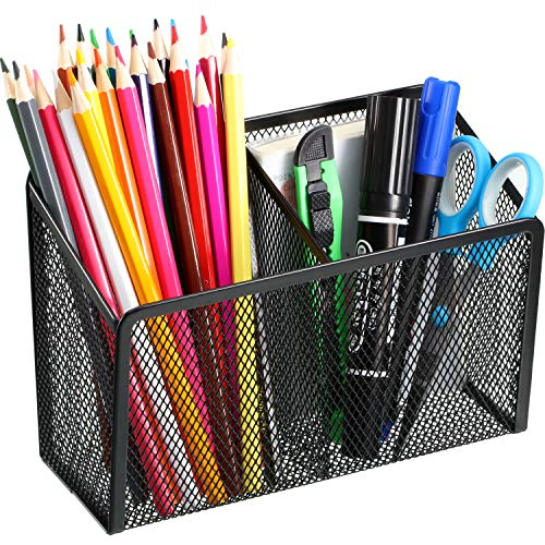 Magnetic Pencil Holder, 2 Generous Compartments Magnetic Storage Basket Organizer to Hold Whiteboard, Refrigerator, Locker Accessories (1 Pack)