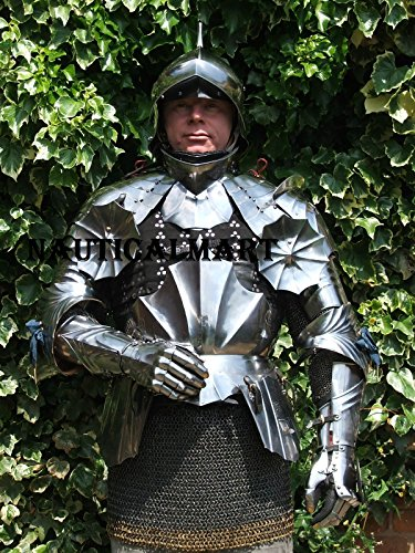 NAUTICALMART Disfraz de Caballero de Armadura Medieval de 18 GA con Casco