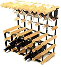 Yxsd Kitchen Storage Organisation 3 Tier Freestanding Wine Bottle Wooden Barrel 15 Bottles Hanging 10 Wine Glasses Wine Ra...