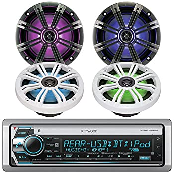Kenwood KMR-D765BT Marine Boat Yacht Outdoor CD MP3 USB Aux Bluetooth AM/FM Radio Receiver Bundle Combo with Kicker KM654LCW 6.5 Led Marine Speakers