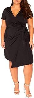 Women's Plus Size Dress Solid V Neck Knee Length True Fit and Drape Wrap Dresses