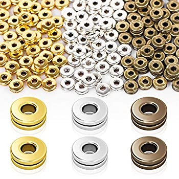 Metal Spacer Beads BENBO 150 Pieces 6 mm Flat Round Disc Rondelle Spacer Beads Metal Rondelle Crimp Beads Loose Beads for Bracelet Necklace DIY Jewelry Making 3 Color