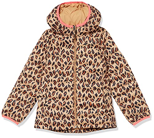 Amazon Essentials Lightweight Water-Resistant Packable Hooded Puffer Jacket Chaqueta, Leopardo clásico, 4 años