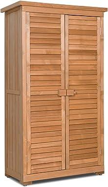 Goplus Outdoor Storage Shed Wooden Shutter Design Fir Wood Lockers for Garden Yard (Natural)