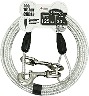 Best Petest Reflective Tie-Out Cable for Dogs Up to 35/60/90/125/250 Pounds, 15ft 25ft 30ft Length Available Review