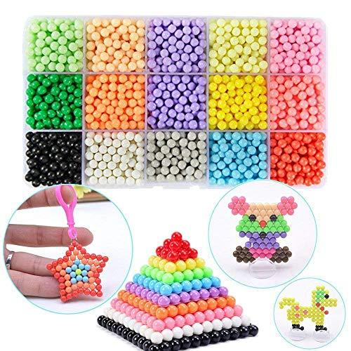 FunBeads Nachfüllset für Regelmäßige Größe 5mm Aqua Perlen Bastelset Starter Set Designer Kollektion für Kinder Komplett-Set ( 15 Farben 2200 Perlen )