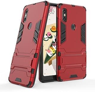غطاء حماية لشاومي مي ميكس 2اس (5.99انش) 2×1مزدوجة الطبقات مدرعة وواقية، مقاومة للصدمات ومزودة بمسند، (بلون احمر)