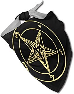 Fengyaojianzhu Gold Baphomet Inverted Pentacle Pewter Satanic Goat Dog Bandana Collars Triangle Neckerchief Bibs Scarfs Accessories Pet Cats and Baby Puppies Saliva Towel