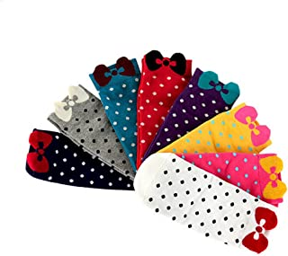 Ewandastore 8 Pairs Women Girls' Cute Bowknot Polka Dot Low Cut Socks