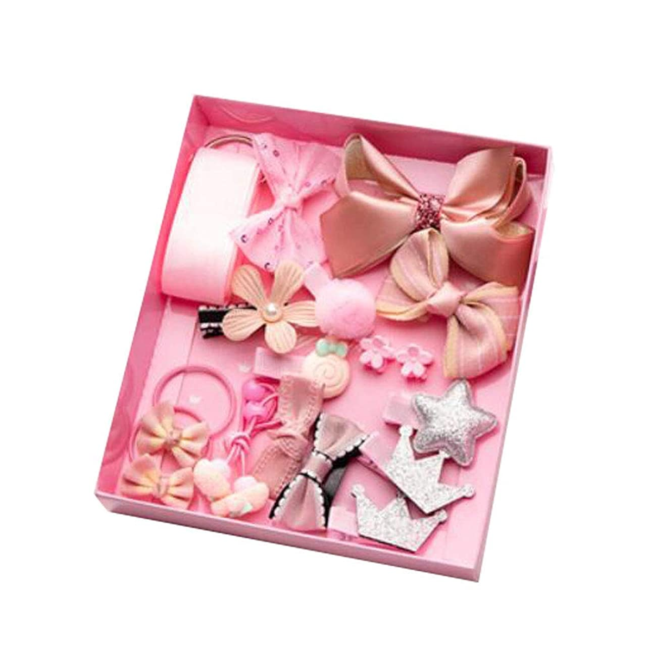 船外セクタ自治的Chinashow 新生児、幼児および子供 ピンク 弓 18個 /パック美しいレディースヘアクリップヘアピンセットギフト