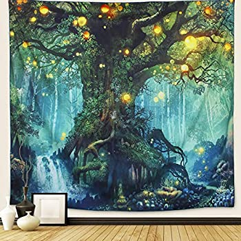 Arfbear Forest Tapestry Nature Tree Popular Elves Wall Hanging Tapestry Warm Green Beach Blanket  Large-79x 59 in