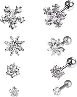 CZ Flower Cartilage Earrings 4 Sets(8PCS) Gift for Sister,16G/20G Surgical Steel Piercing Jewelry with Screw Back Design,Silver