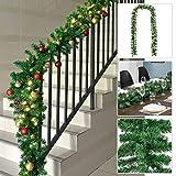 Juskys Weihnachtsgirlande künstlich mit LED Lichterkette | 5m | 100 Lichter warmweiß | IP44 Innen | grün | Weihnachten Girlande Weihnachtsdeko
